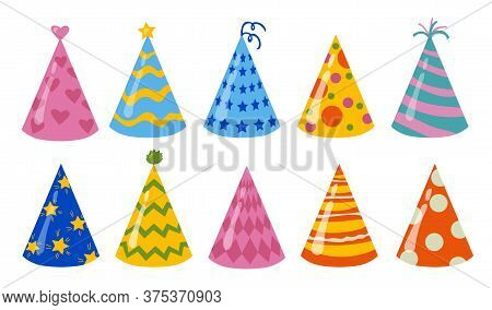 Birthday Hats Set. Colorful Party Caps For Holiday, Festive Paper Cones For Celebration. Vector Illu