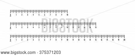 Centimeter Measuring Scales Set. Black Indicators And Numbers For Cm Rulers Of Different Sizes With