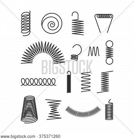 Metal Industrial Coils Set. Twisted Cords, Flexible Springy Spirals, Twisted Curved Elements. Vector