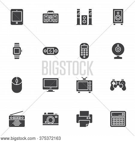 Household Appliances Vector Icons Set, Modern Solid Symbol Collection, Filled Style Pictogram Pack.