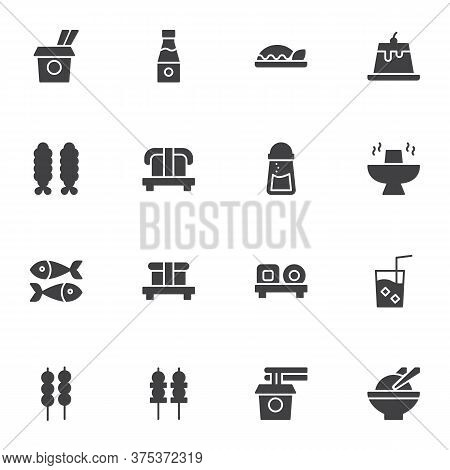 Asian Cuisine Vector Icons Set, Modern Solid Symbol Collection, Asian Food Menu Filled Style Pictogr