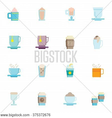 Coffee Shop Beverages Collection, Flat Icons Set, Colorful Symbols Pack Contains - Frappe Drink, Cap
