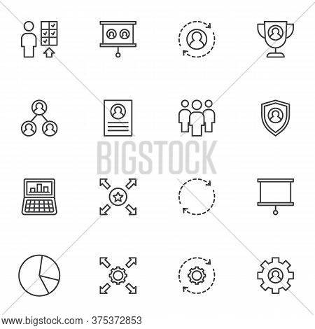 Corporate Business Line Icons Set, Outline Vector Symbol Collection, Linear Style Pictogram Pack. Si