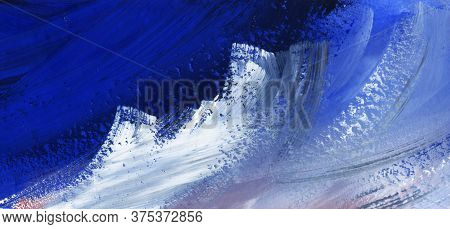 Abstract Watercolor Background On Textured Paper. Rough Surface Of Dry Painted Sheet With Blending O