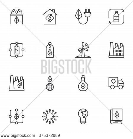 Ecology Line Icons Set, Eco Energy Outline Vector Symbol Collection, Linear Style Pictogram Pack. Si