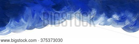 Abstract Watercolor Background With Place For Text. Blue Massive Clouds On White Backdrop. Top Borde