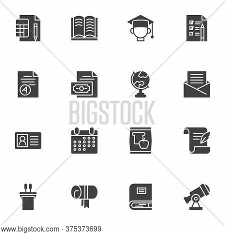 University, Education Vector Icons Set, Modern Solid Symbol Collection, Filled Style Pictogram Pack.