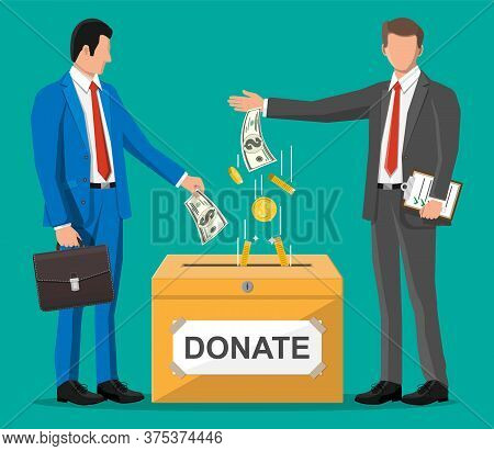 Business People Near Donation Box And Money. Donation Container With Golden Coins And Dollar Banknot