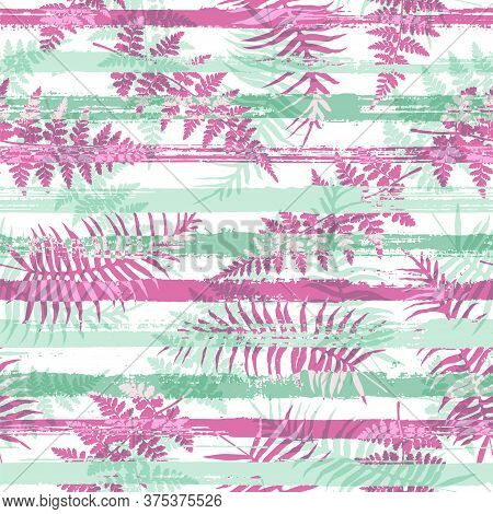 Exotic New Zealand Fern Frond And Bracken Grass Overlapping Stripes Vector Seamless Pattern. Polynes