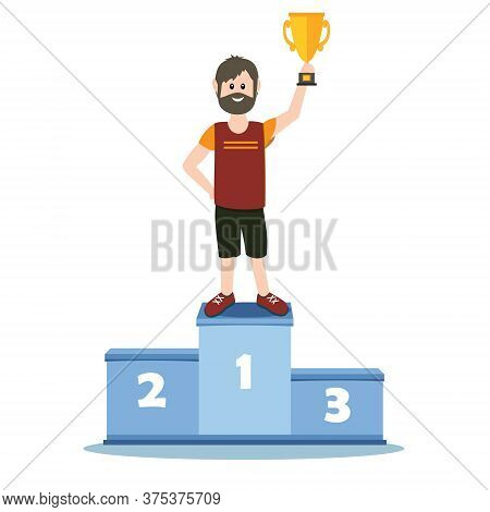Male Athlete On The Podium In The First Place Holding The Prize Gold Cup, Color Vector Illustration