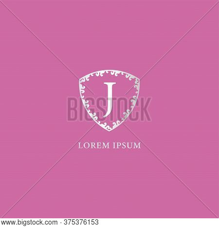 J Letter Intial Logo Design Template. Luxury Silver Decorative Floral Shield Illustration. Isolated