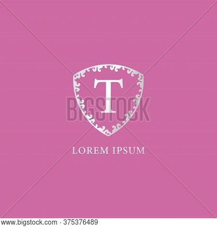 T Letter Intial Logo Design Template. Suitable For Insurance, Fashion And Beauty Product. Luxury Sil