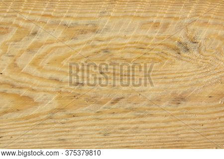 Roughly Sawn Board. Roughly Processed Pine Board. Close-up Of The Cross Section Of Lumber. Raw Const