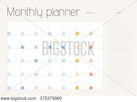 Monthly Planner With Space For Notes On All Days Of The Month. A4 Sheet Proportion. Soft Colors.