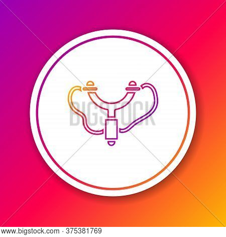 Color Line Slingshot Icon Isolated On Color Background. Circle White Button. Vector