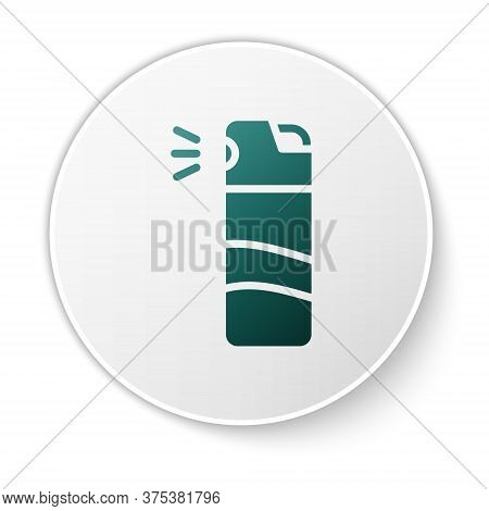 Green Pepper Spray Icon Isolated On White Background. Oc Gas. Capsicum Self Defense Aerosol. White C