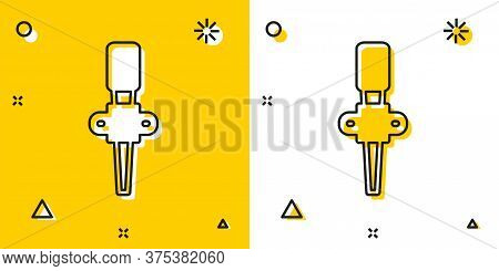 Black Torch Flame Icon Isolated On Yellow And White Background. Symbol Fire Hot, Flame Power, Flamin
