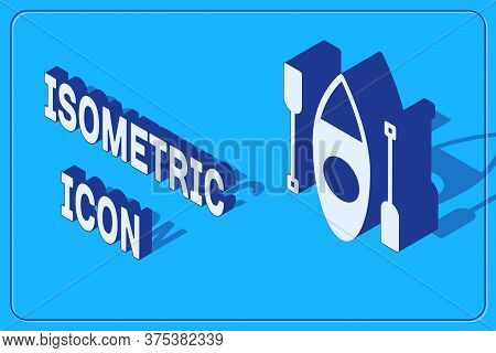 Isometric Kayak And Paddle Icon Isolated On Blue Background. Kayak And Canoe For Fishing And Tourism