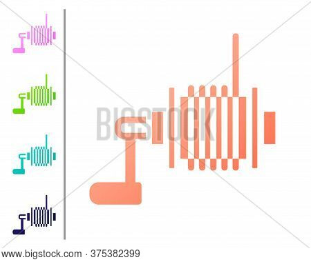 Coral Spinning Reel For Fishing Icon Isolated On White Background. Fishing Coil. Fishing Tackle. Set