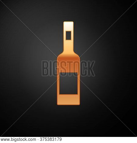 Gold Glass Bottle Of Vodka Icon Isolated On Black Background. Vector