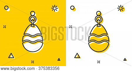 Black Fishing Spoon Icon Isolated On Yellow And White Background. Fishing Baits In Shape Of Fish. Fi