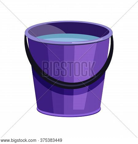 Violet Bucket Illustration. Basket, Home, Cleaning. Houseware Concept. Illustration Can Be Used For