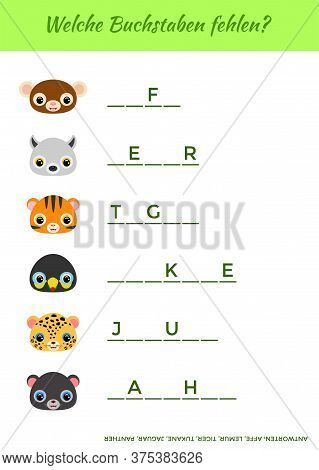 Welche Buchstaben Fehlen? - What Letters Are Missing? Complete The Words. Matching Educational Game