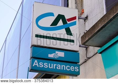 Bordeaux , Aquitaine / France - 07 06 2020 : Ca Assurances Sign And Logo Of French Agency Insurance
