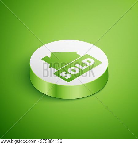 Isometric Hanging Sign With Text Sold Icon Isolated On Green Background. Sold Sticker. Sold Signboar