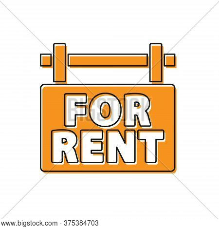 Orange Hanging Sign With Text For Rent Icon Isolated On White Background. Signboard With Text For Re