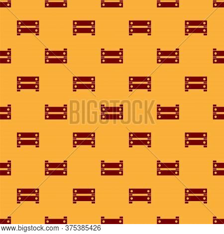 Red Wooden Box Icon Isolated Seamless Pattern On Brown Background. Grocery Basket, Storehouse Crate.