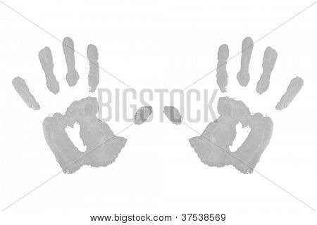 Two grey symmetric handprints against a white background