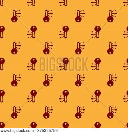 Red Cryptocurrency Key Icon Isolated Seamless Pattern On Brown Background. Concept Of Cyber Security