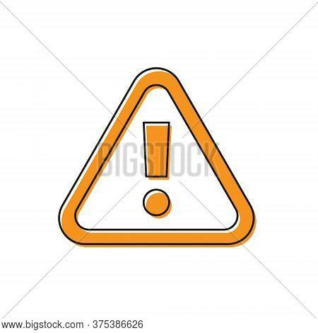 Orange Exclamation Mark In Triangle Icon Isolated On White Background. Hazard Warning Sign, Careful,