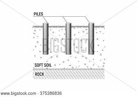 Friction Round Piles. Vecor Illustration. Construction Bedrock.