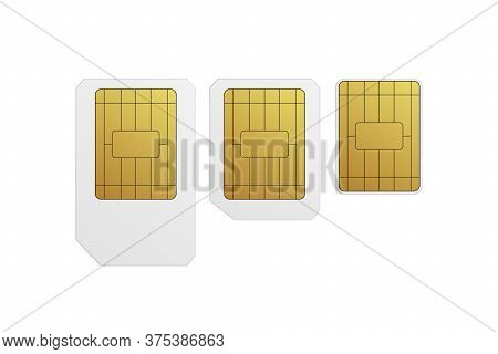 Sim Cards Set. Nano, Micro, Standard. Vector Illustration Mobile Networks Technology