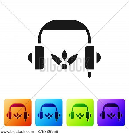 Black Headphones For Meditation Icon Isolated On White Background. Set Icons In Color Square Buttons
