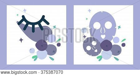 Set Of Two Illustrations With Eye Patches And Masks For Face Skin. Natural Skin Care Based On Bluebe