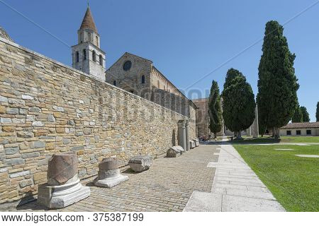 Aquileia, Italy. July 5, 2020. Some Roman Archaeological Finds In Front Of The Basilica Of Aquileia,