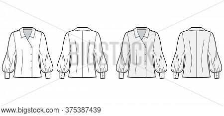 Blouse Technical Fashion Illustration Set With Oversized Body, Long Bishop Sleeves, Regular Collar,