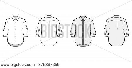 Classic Shirt Technical Fashion Illustration Set With Button Down Front Opening, Round Collar, Elbow
