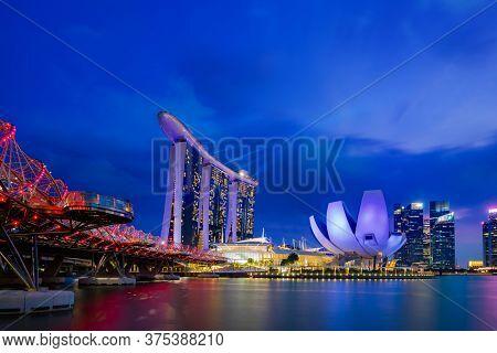 SINGAPORE CITY, SINGAPORE - FEBRUARY 17, 2020: Spectra – Light and Water Show  Marina Bay Sands Singapore