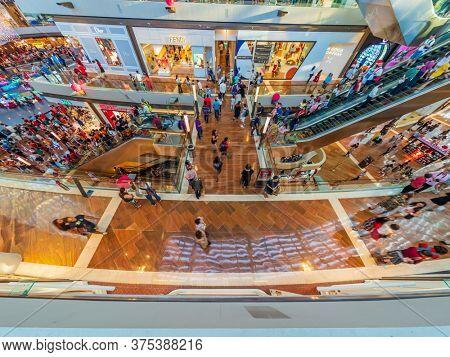 SINGAPORE CITY, SINGAPORE - FEBRUARY 17, 2020: Singapore Marina bay sands Shoppes shopping mall