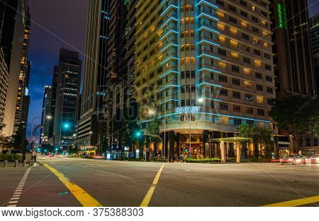 SINGAPORE CITY, SINGAPORE - FEBRUARY 17, 2020: Empty street in Singapore during the Coronavirus Covid 19 outbreak