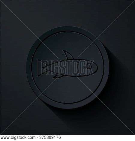 Paper Cut Served Fish On A Plate Icon Isolated On Black Background. Paper Art Style. Vector.