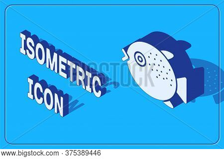 Isometric Puffer Fish Icon Isolated On Blue Background. Fugu Fish Japanese Puffer Fish. Vector.