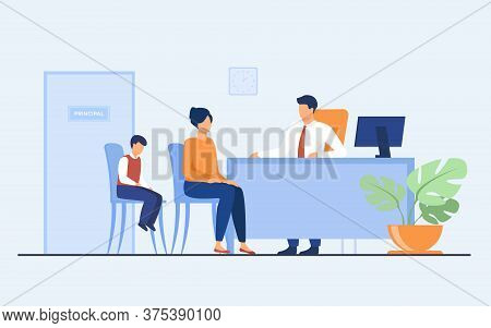 Children Behavior Problems Concept. Mom And Son Visiting School Principal Office. Pupil Feeling Guil