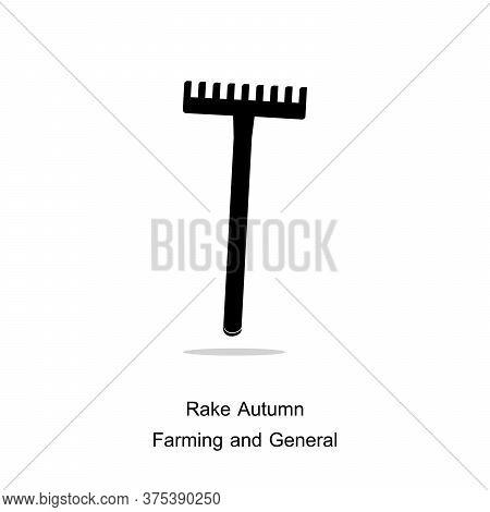Rake Autumn Icon. Graphic Of Rake And Tool Vector Icon For Garden, Camp. Illustration Rake Tool.