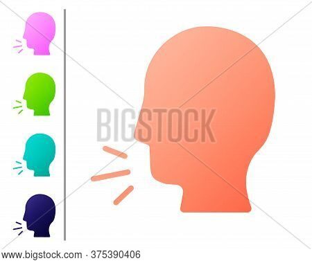 Coral Man Coughing Icon Isolated On White Background. Viral Infection, Influenza, Flu, Cold Symptom.
