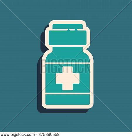 Green Medicine Bottle And Pills Icon Isolated On Green Background. Medical Drug Package For Tablet,